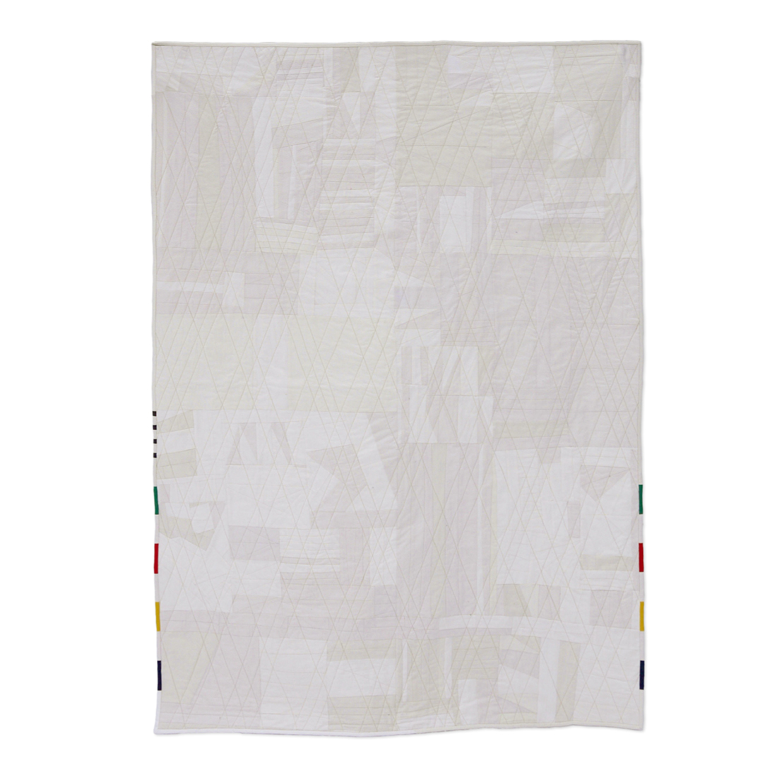 "<b>Snow City</b><br>49"" x 70""<br>Cotton, cotton batting, nylon/polyester thread<br>SOLD"