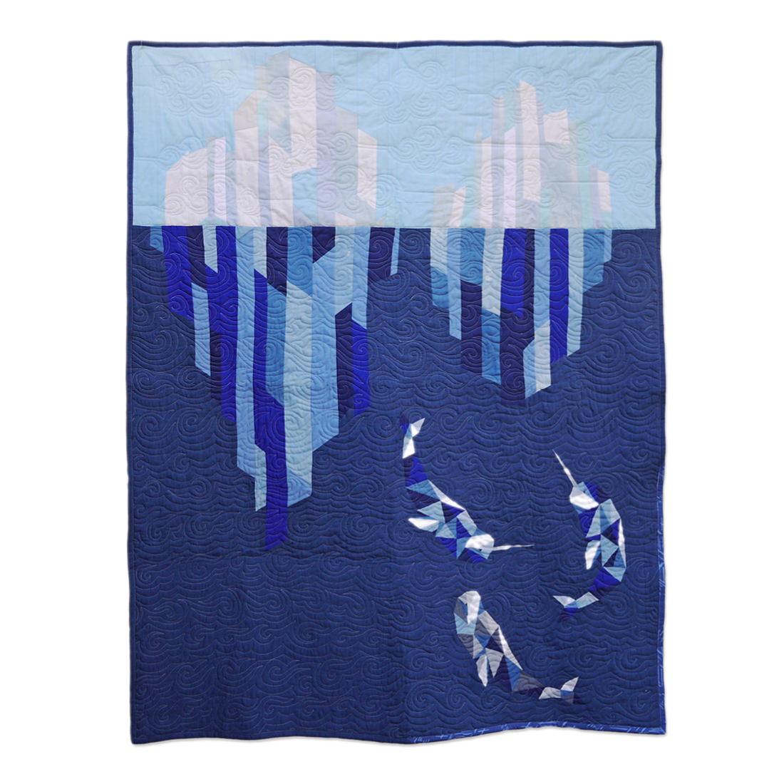 "<b>Icebergs & Narwhals</b><br>42"" x 50""<br>Cotton, cotton/polyester batting<br>SOLD"