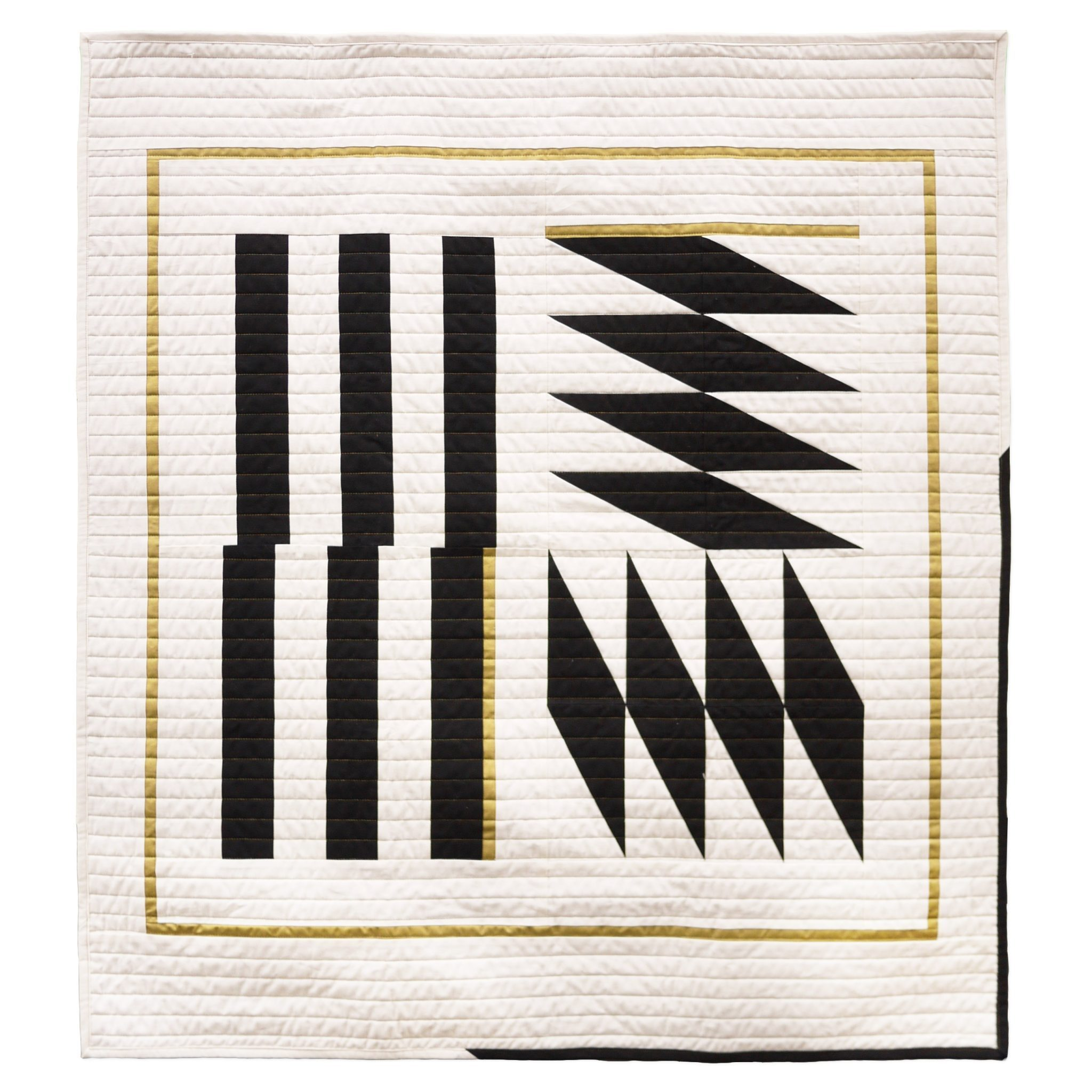 "<b>Inlay, Black - Baby Size</b><br>36"" x 40""<br>Cotton, cotton batting<br><a href=""https://3rdstoryworkshop.com/product/inlay-collection-wall-hanging-crib-quilt-black"" target=""_blank"" rel=""noopener noreferrer"">PURCHASE</a>"