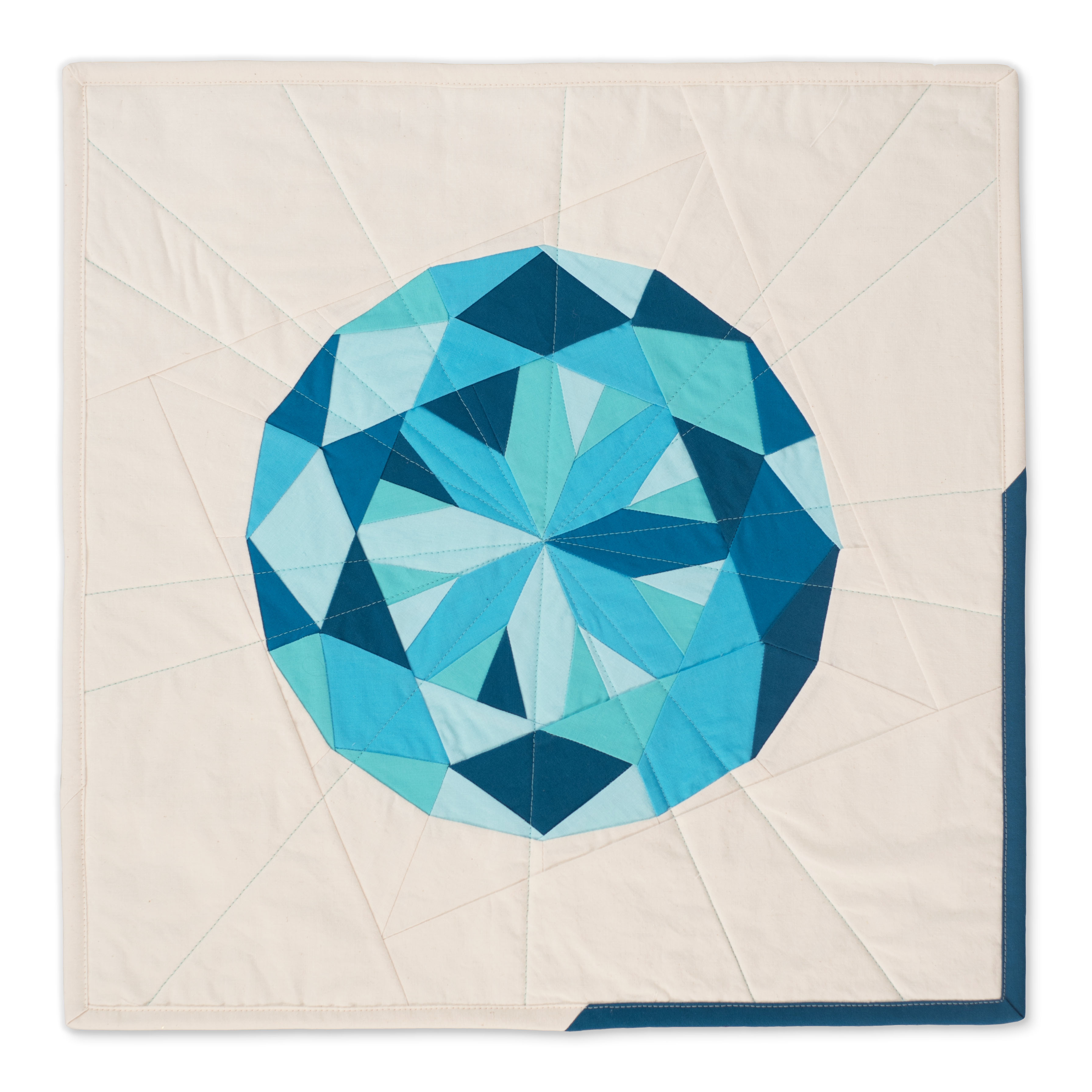 "<b>Aquamarine</b><br>20"" x 20""<br>Cotton, cotton batting<br><a href=""mailto:hello@3rdstoryworkshop.com?Subject=Aquamarine%20Gemology"" target=""_top"" rel=""noopener noreferrer"">Inquire</a>"
