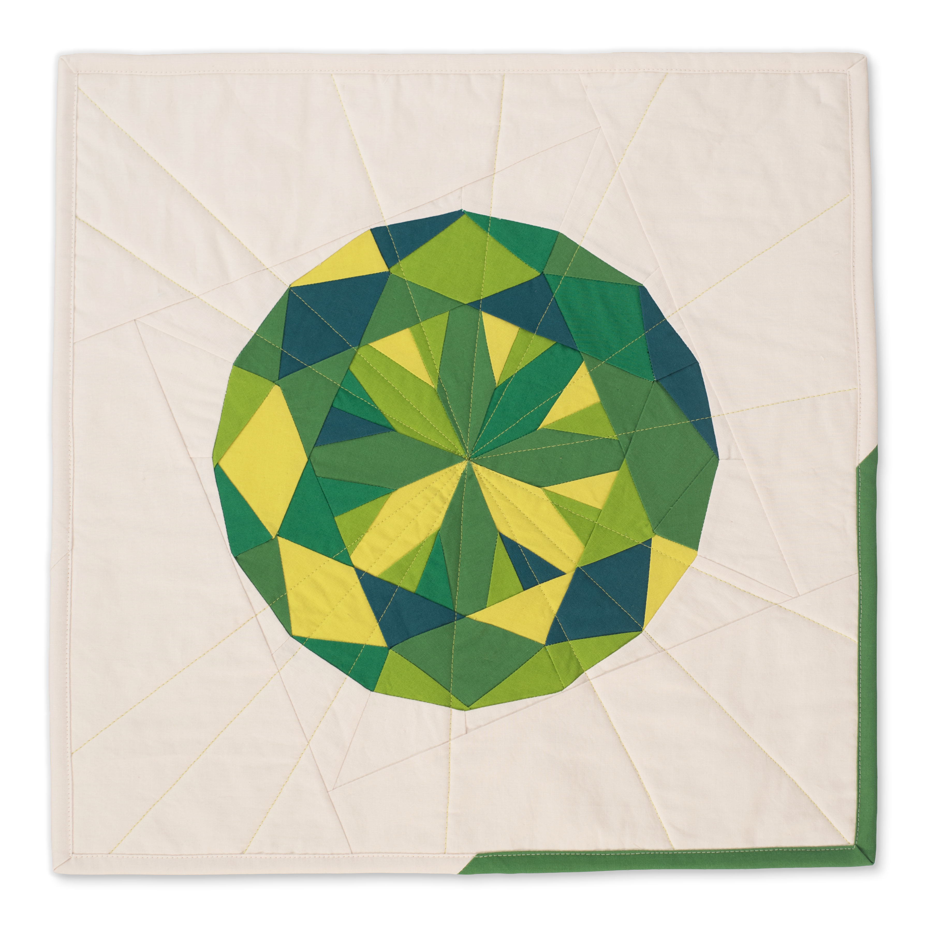 "<b>Peridot</b><br>20"" x 20""<br>Cotton, cotton batting<br>SOLD"