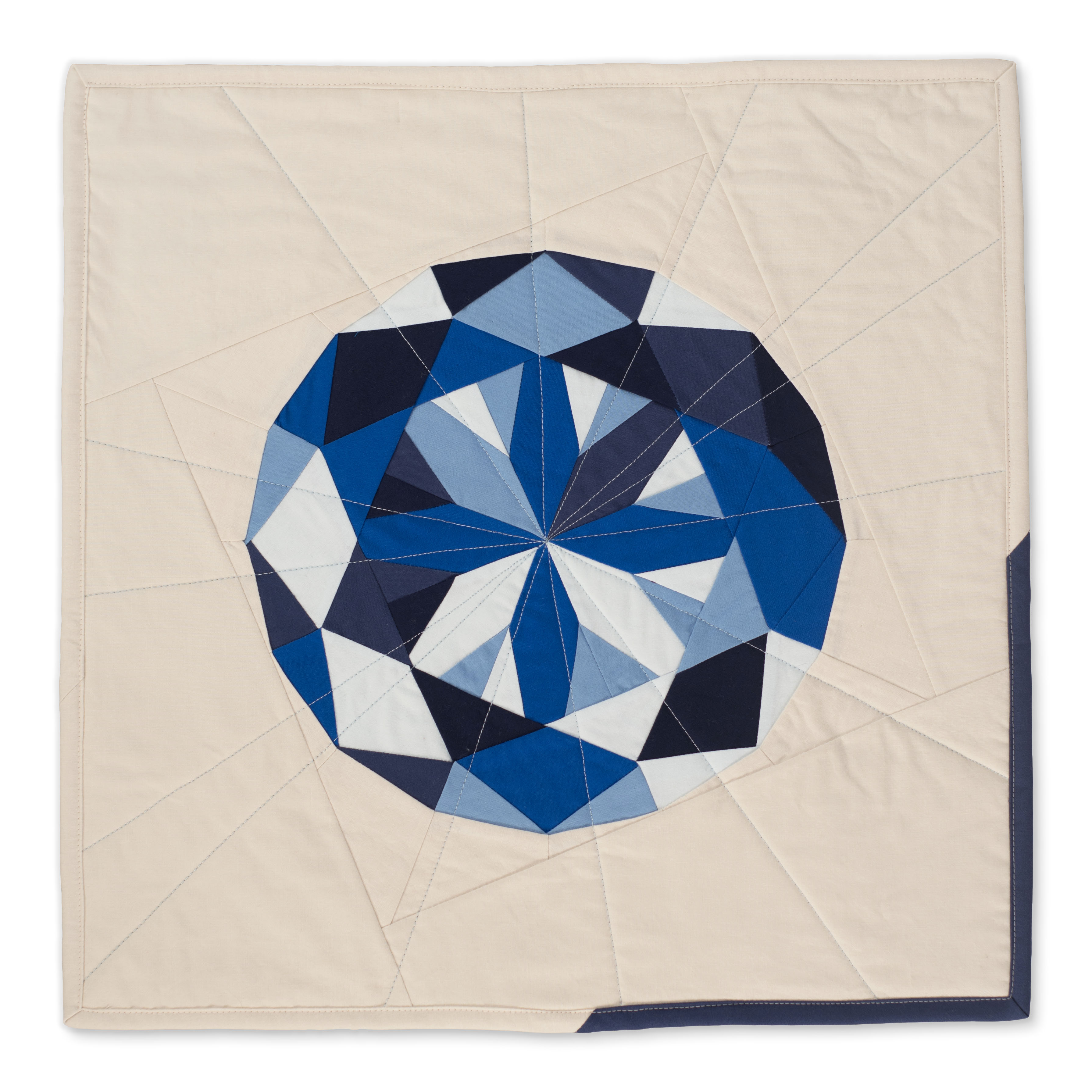 "<b>Sapphire</b><br>20"" x 20""<br>Cotton, cotton batting<br>SOLD"