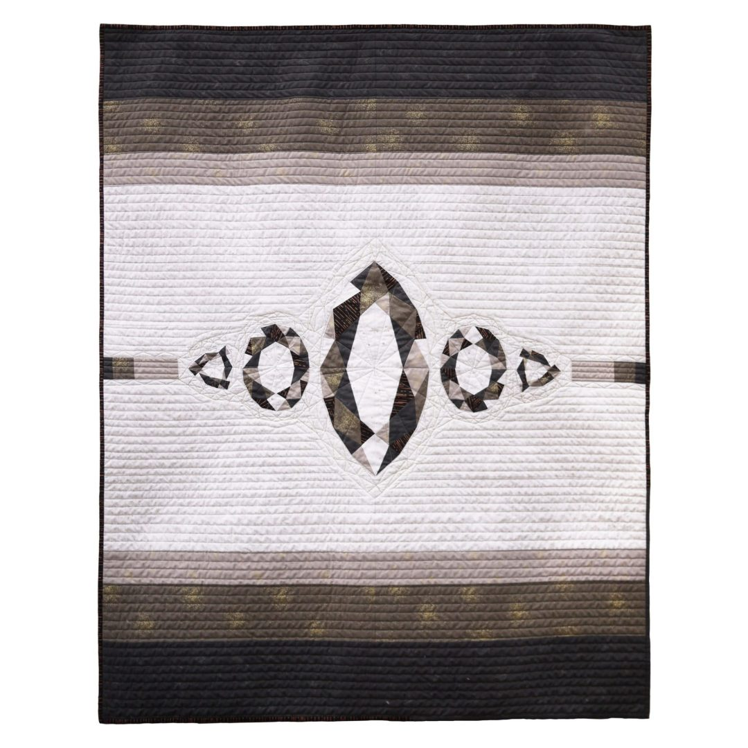 "<b>Statement Piece - Black and White</b><br>50"" x 65""<br>from <a href=""https://3rdstoryworkshop.com/product/patchwork-lab-gemology-book"" target=""_blank""<i>Patchwork Lab: Gemology</i></a><br>Cotton, cotton batting<br><a href=""mailto:hello@3rdstoryworkshop.com?Subject=Statement%20Piece%20Black%20and%20White"" target=""_top"" rel=""noopener noreferrer"">Inquire</a>"